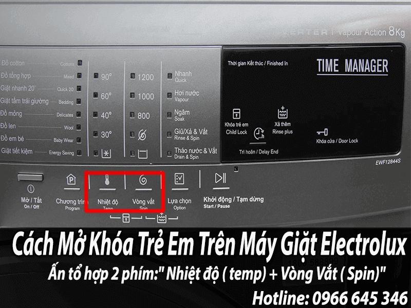 Tắt chế độ khóa trẻ em trên máy giặt electrolux